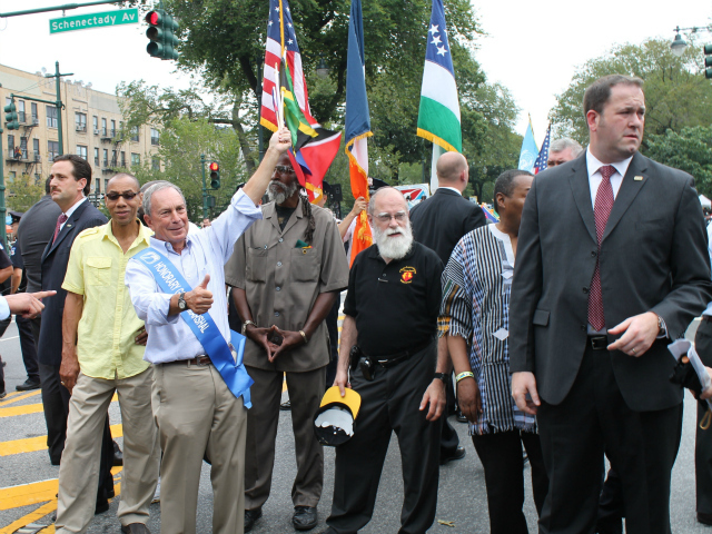 Mayor Michael Bloomberg at the West Indian-American Day Parade along Eastern Parkway in Brooklyn.  Sept. 3, 2012.