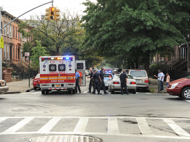 The scene of a RMP crash on Greene Avenue at Reid Avenue in Brooklyn on Tuesday September 4, 2012.