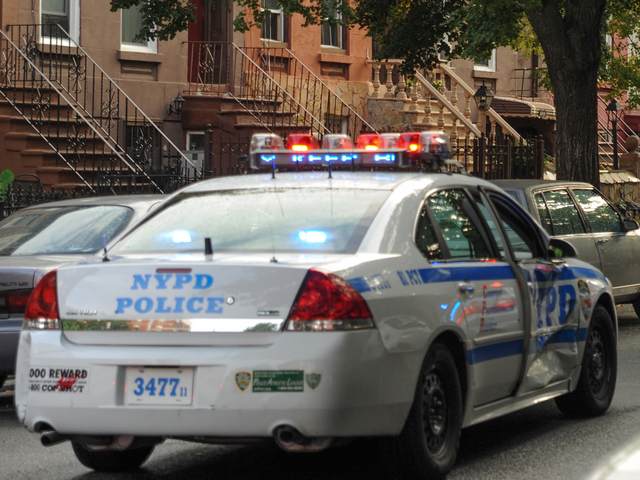 The marked police car involved in the crash is seen here on Tuesday September 4, 2012.