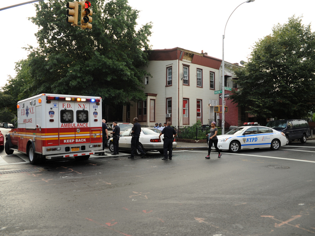 The scene of a police car crash on Greene Avenue at Reid Avenue in Brooklyn on Tuesday September 4, 2012.