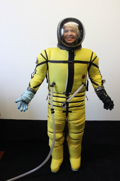 A woman modeled a space suit by Final Frontier Design.