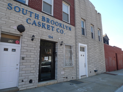 The South Brooklyn Casket Company is next door to the Union Street building where Royal Palms Shuffleboard wants to open.