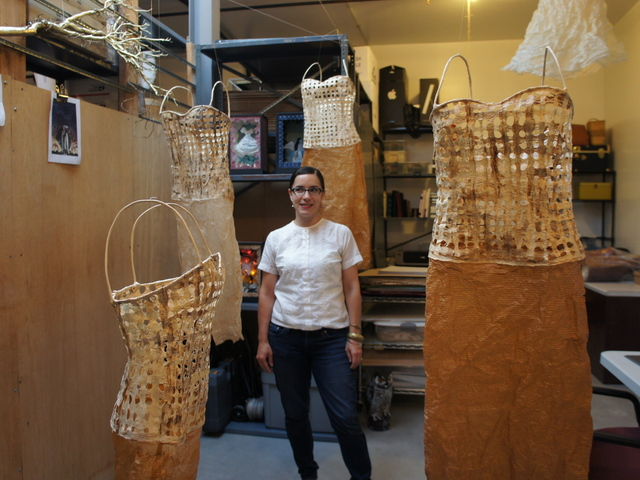 Artist Christina Graf in her Crown Heights Studio. Graf is among the more than 1,800 local artists opening their studios to the public this weekend for GO Brooklyn.