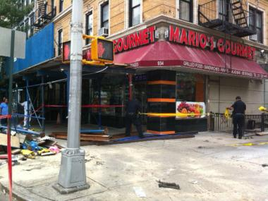 A yellow cab hit scaffolding at Amsterdam Avenue and West 106th Street, officials said.