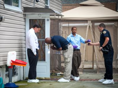 Emergency crews found a bloodied man in cardiac arrest in South Jamaica on Sept. 5, 2012. The man was later pronounced dead.