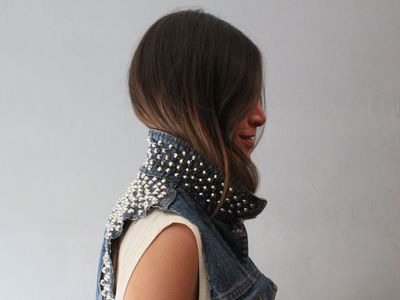 Sierra Fromberg, who owns Grey Era Vintage, wears a vintage denim cutoff given new life with stud details.