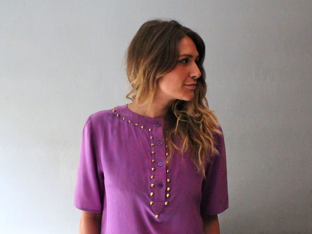 Rebecca Formichella wears a vintage silk shirt from her new line