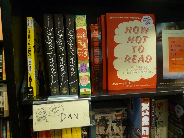 Community Bookstore employee Dan Wilbur's staff recommendations shelf includes his own book,