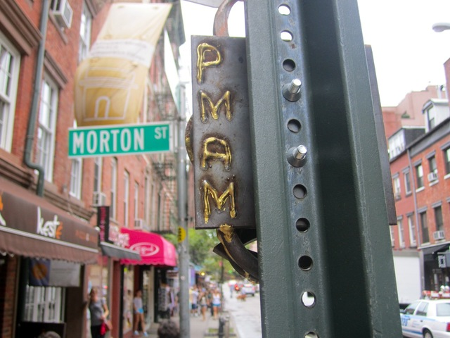 The letters PMAM were welded onto the back of the metal sculptures that popped up across the West Village in early September 2012.