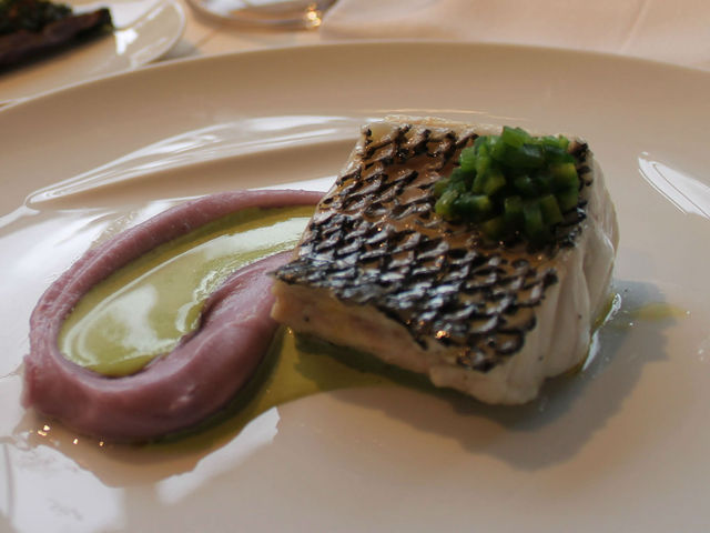 Sea bass and purple potatoes are on the prix-fixe fashion week menu at Jean-Georges Nougatine.