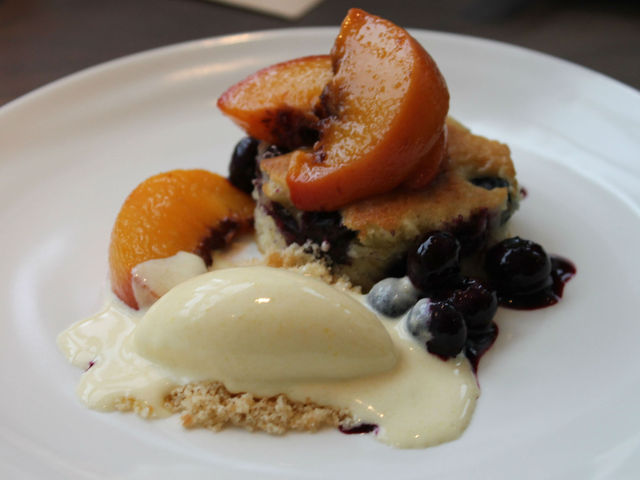 Blueberry corn cake with corn ice cream and peaches will be part of the Nougatine prix-fixe menu.