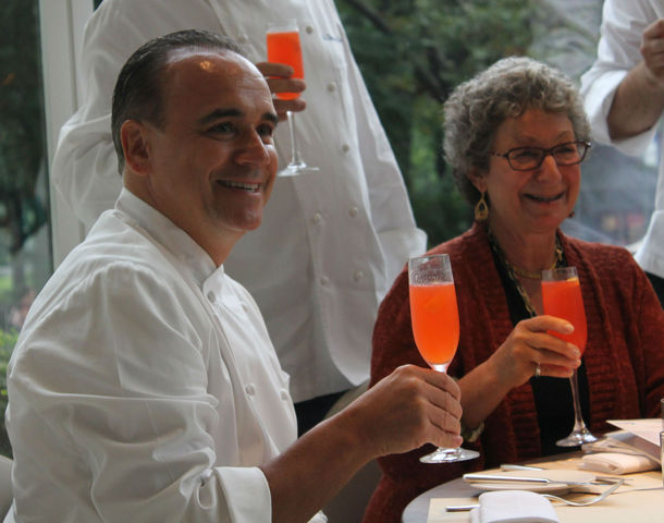 Jean-Georges Vongerichten and Lincoln Square BID President Monica Blum enjoy a strawberry cocktail at Nougatine.