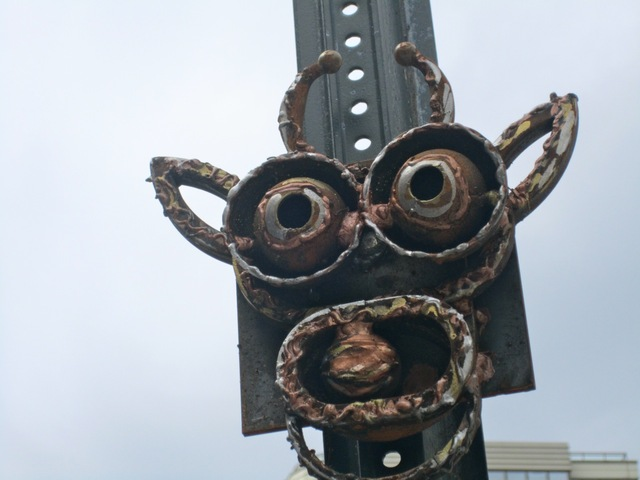 The metal sculptures were bolted to parking signs in the West Village, Greenwich Village and Hudson Square in early September 2012.