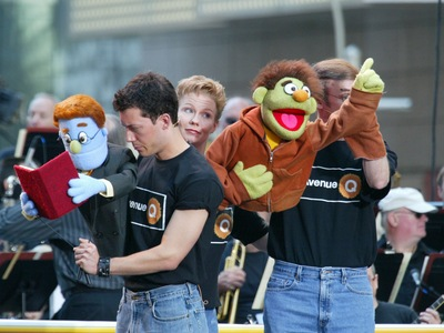 The cast of Avenue Q appears at the 12th Annual Broadway On Broadway free concert sponsored by Toys 'R' Us in Times Square Sept. 7, 2003 in New York City.