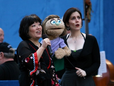 Ann Harada and Stephanie d'Abruzzo from the Broadway play 'Avenue Q' perform live at the 'Broadway On Broadway' on Times Square on Sept. 18, 2005.