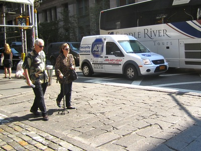 George and Linda Jensen, tourists visiting New York from Texas in late August 2012, said that crumbling cobblestones in SoHo crosswalks were difficult to navigate.