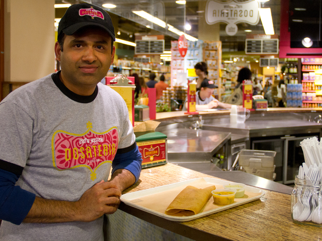 Hari Nayak, corporate chef of Cafe Spice, designed the menu featured at Café Spice Dosateria & Lassi Bar at the Whole Foods Market in TriBeCa.