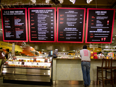 <p>TriBeCa&#39;s Whole Foods Market, one of seven in Manhattan, features a Caf&eacute; Spice Dosateria &amp; Lassi Bar. It is the first Dosateria at an Whole Foods in the United States.</p>