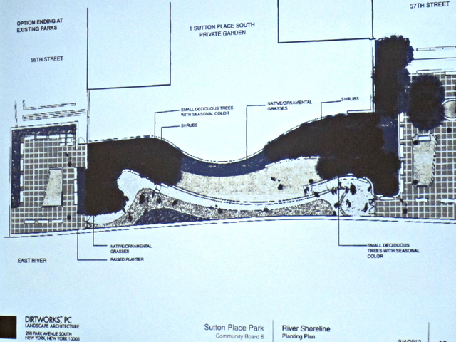 A rendering of design plans for the new public park at 1 Sutton Place South. Those plans include two locked gates at the park's northern and southern entrances.