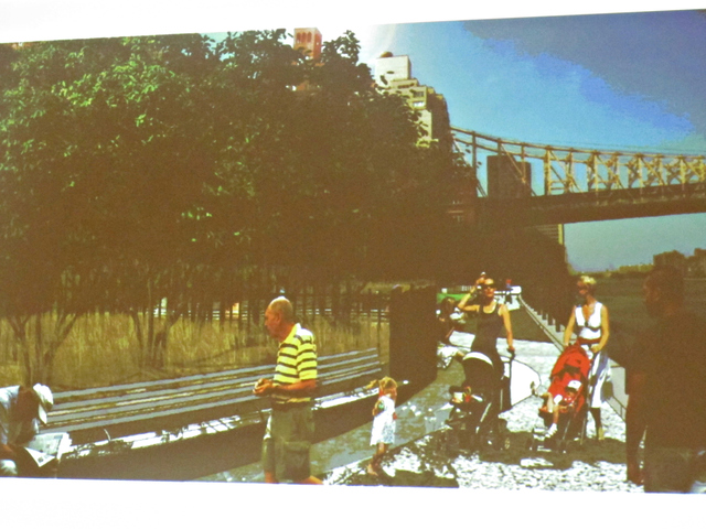 The preliminary designs call for an undulating walking path evocative of the East River 30 feet below the park.