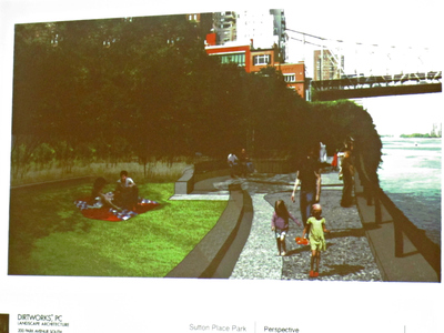 The landscape designer for the project also included elevated grassy patches for quiet recreation.