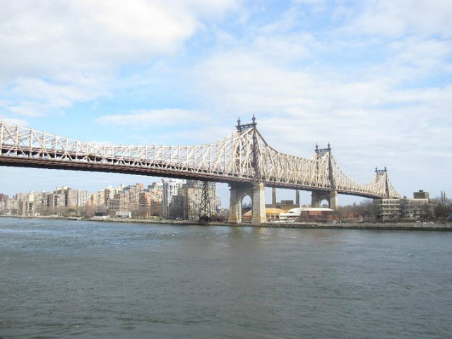 The park at 1 Sutton Place South afford striking views of the Ed Koch-Queensboro Bridge.