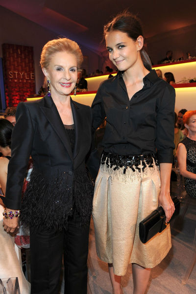 Carolina Herrera and Katie Holmes at the Style Awards at the tents at Lincoln Center, Wednesday, September 5, 2012.