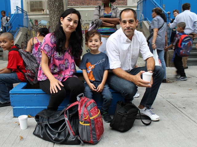 <p>Baldomero Fernandez and Stephenie Fernandez with their son Joaquin, 4, who started kindergarten at P.S. 11 in Chelsea on Sept. 6, 2012.</p>