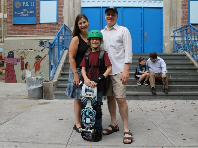<p>Helene Rutledge and Jon Shaver with their son Colman Shaver, 9, who started fourth grade at P.S. 11 in Chelsea on Sept. 6, 2012.</p>