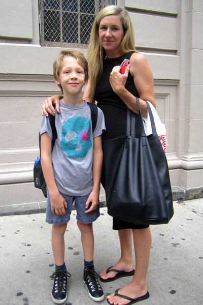 Verity Kneale's son Jack, 7, chose a skull t-shirt to wear to his first day of 2nd grade at P.S. 3 in the West Village on Sept. 6, 2012.