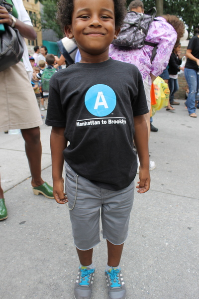Noah Andrade, 5, dressed like a mini hipster complete with faux chain wallet, subway T-shirt and long shorts for his first day of kindergarten at Park Slope's P.S. 321. Noah, a subway fan, spent his entire summer at the New York Transit Museum, said mom Jackie Andrade.