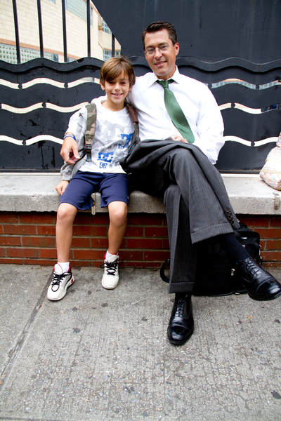 David Becker, 47, takes his son Jack, 8, to his first day of school September 6, 2012 at P.S. 234 in TriBeCa.