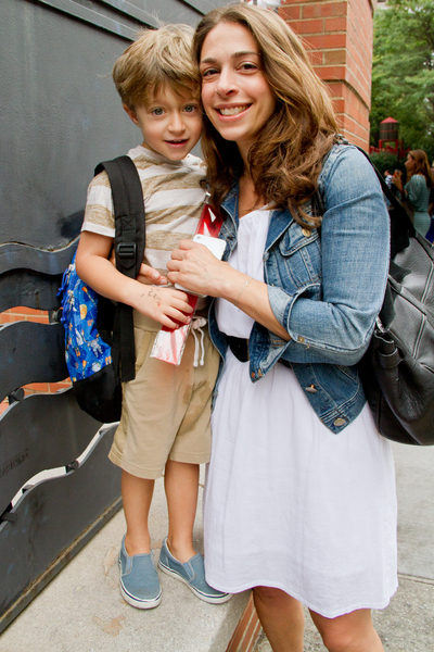 Heather Bergstein takes her son Micha, 4, to the first day of school September 6, 2012 at P.S. 234 in TriBeCa.