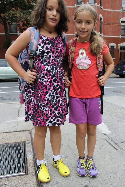 Twins Zoe and Sophia Inbar, 9, were headed to the first day of fifth grade at Park Slope's P.S. 321. Sophia was wearing her favorite pair of shorts and a shirt she likes.