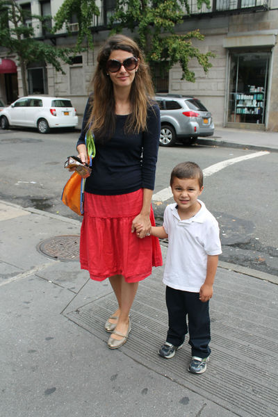Sophie Emery, 40, was taken her uniform-clad son Leife, 4, for his first day of pre-K at P.S. 180. Emery favors