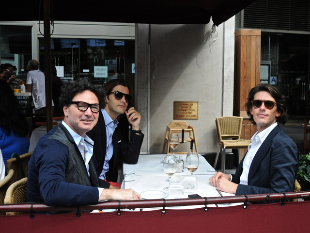 Italian men Gaetano Sallorenro, Edgardo Osoro and Ricardo D'Almaida Fiveiredo enjoy some rose at Cafe Fiorello after the first round of shows.