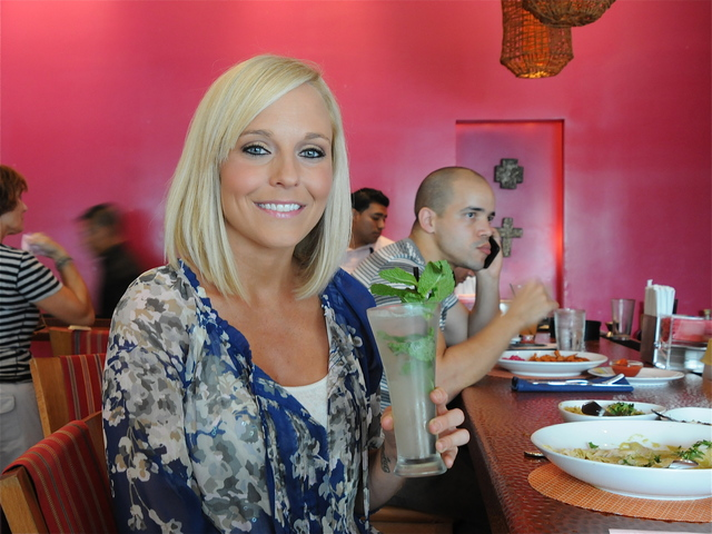 Nikki Corran enjoys a mojito before starting backstage as a makeup stylist.