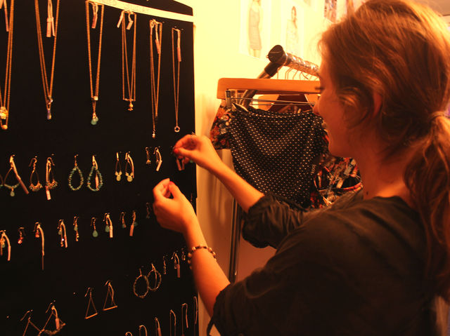 September 6 2012 - Christy Luo designs jewerly for her shop in the DeKalb Market.
