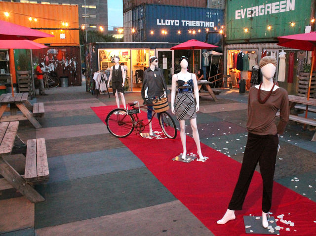 September 6 2012 - DeKalb Market dressed mannequins and put out a red carpet for Fashion's Night Out.