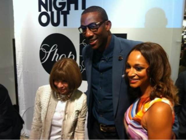 Amar'e Stoudemire with Anna Wintour at Saks Fifht Avenue on Fashion's Night Out, Sept. 6, 2012.