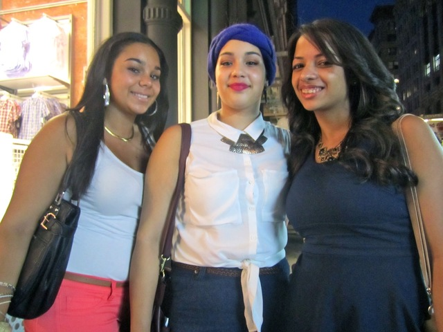 <p>Amanda Moran, Pearl Estrella and Clariznex Guzman of the Bronx, all 20, said SoHo was the place to be for Fashion&#39;s Night Out 2012, on Sept. 6, 2012.</p>