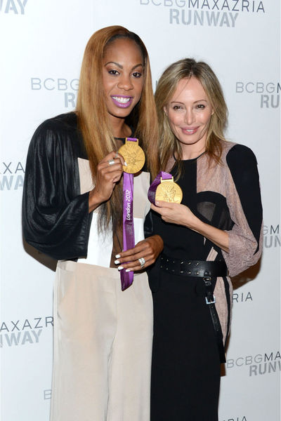 Sanya Richards-Ross and Lubov Azria backstage at the BCBGMAXAZRIA show at Mercedes Benz Fashion Week at Lincoln Center, Thursday, September 6, 2012.