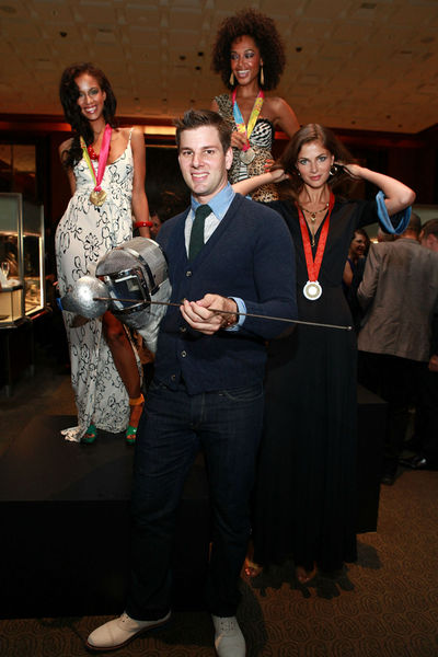 Tim Morehouse and his decorated models at Tiffany & Co's party for