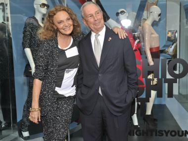 Mayor Michael Bloomberg with Diane von Furstenberg at her boutique in the Meatpacking District for Fashion's Night Out.