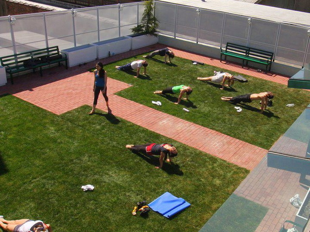 Students practiced yoga at Green Fitness Studio.