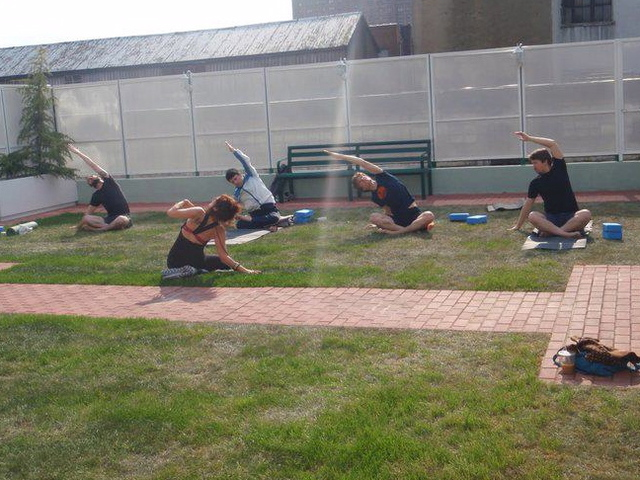Green Fitness Studio offered outdoor yoga this summer. The eco friendly gym hopes to serve liquor soon.