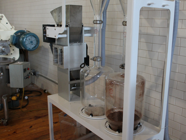 This machine, a vortex winnower, was invented by Cacao Prieto owner Daniel Preston, sales director Alex Clark said. It cleanly separates cacao bean nibs from their husks.