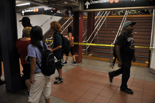 Straphangers were evacuated after smoke conditions in a tunnel between the Bowery and Essex Street train stations, Sept. 7, 2012.