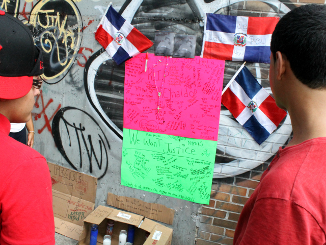 Locals created a memorial across from the bodega where Reynaldo Cuevas was killed.