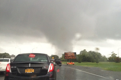 A driver snapped this photo of the September 8, 2012 storm on the Belt Parkway in southern Brooklyn.
